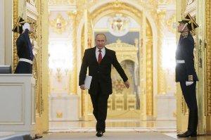 Президент России Владимир Путин оглашает Послание к Федеральному Собранию